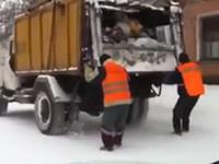 Sportliche Müllmänner in Russland