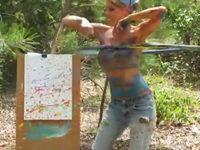 Süßes Mädel tanzt mit dem Hula Hoop #7 – Painting