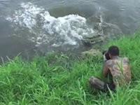 Todesmutiger Fotograf und hungriges Krokodil